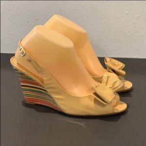 Auth Kate Spade vtg patent leather wedge sandals 9
